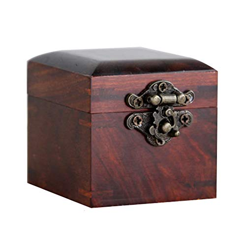 Rosewood Jewelry Chest - LINGS Wooden Storage Stash Box,Memorial Home Decorative Treasure Chest,Keepsake,Jewelry and Ring Case,Made of Rosewood