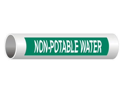 Non-Potable Water (White Legend On Green Background) ASME A13.1 Pipe Label Decal, 8x2 in. 5-Pack Vinyl for Pipe Markers by ComplianceSigns ()