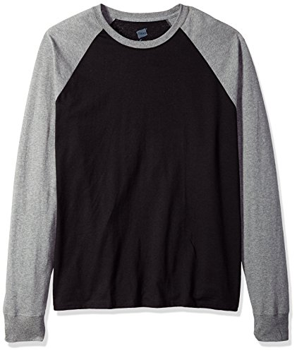 Hanes Men's Long Sleeve ComfortBlend Raglan Tri-Blend Tee, Ebony/Mid Charcoal Heather, XX-Large (Sleeve Raglan Tri Blend)