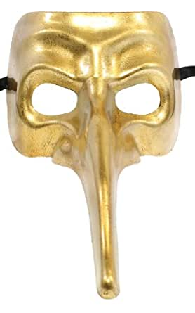 RedSkyTrader Mens Long Nosed Carnival Mask One Size Fits Most Gold