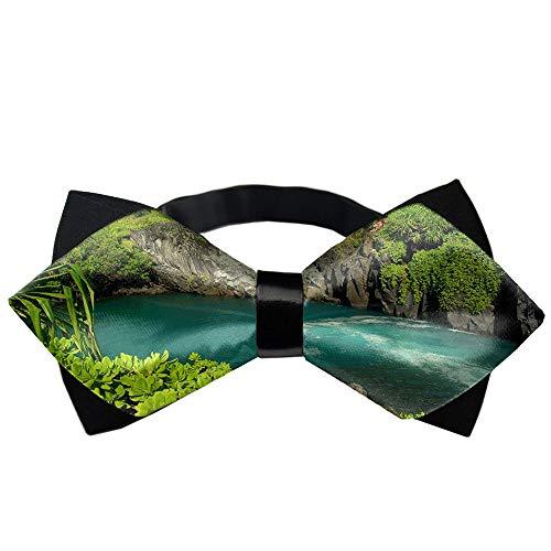 Adjustable Bowties Hawaii Tropical Island Nature Green Necktie