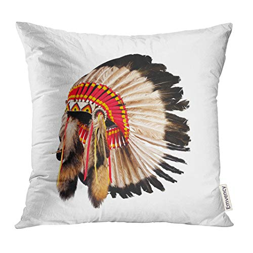 Emvency Throw Pillow Cover Feather Native American Indian Chief Headdress Mascot Tribal Head Decorative Pillow Case Home Decor Square 18x18 Inches Pillowcase