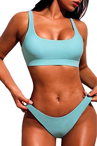 Tengo Women's Beach Wear Two Pieces Bikini Sets Tank Tops Sexy Sports Swimsuit Swimwear (SkyBlue,M) ()