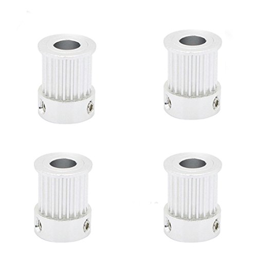 BALITENSEN 4 pcs 2GT 20 teeth Timing Pulley bore 6.35 for GT2 belt width 10mm for CNC 3D printer(GT2 20teeth)