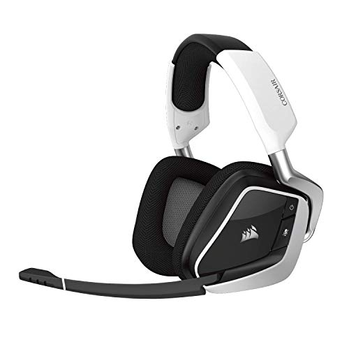 CORSAIR Void PRO RGB Wireless Gaming Headset - Dolby 7.1 Surround Sound Headphones for PC - Discord Certified - 50mm Drivers - White (Blue Headset Wireless)