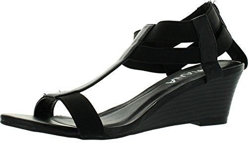 - Diviana Nicki-19 Women's Elastic T-Strap Back Zip Wedge Sandals,Black,6.5