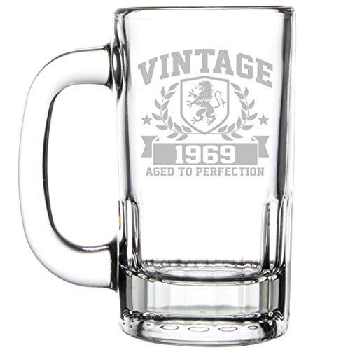 12oz Beer Mug Stein Glass Vintage Aged To Perfection 1969 50th Birthday