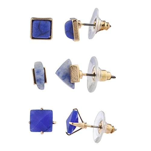 (Lux Accessories Blue Semi-Precious Stone Geo Multi Earring Set (3PCS))