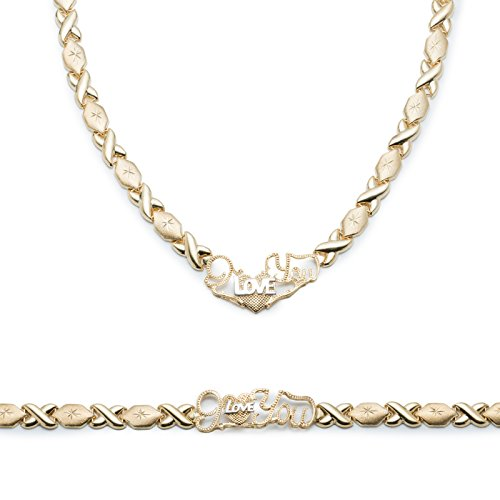 Sterling Silver Rhodium Plated Stampato Xoxo Hugs & Kisses w/ Heart ''I Love You'' Bracelet & Necklace Set by Glad Gold