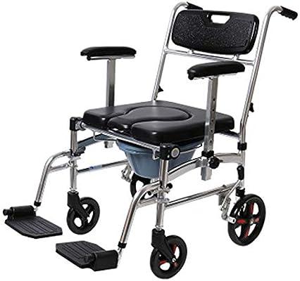 Silla de ducha de aluminio medicinal silla de ruedas, plegable 3 en 1 asiento de inodoro con ruedas de bloqueo y reposapiés extraíbles
