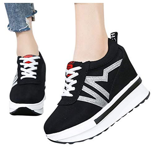 Dasuy Women's Platform Sneakers Wedges Lace Up Walking Shoes Hidden Wedge Increasing Height Tennis Shoes for Women Girls