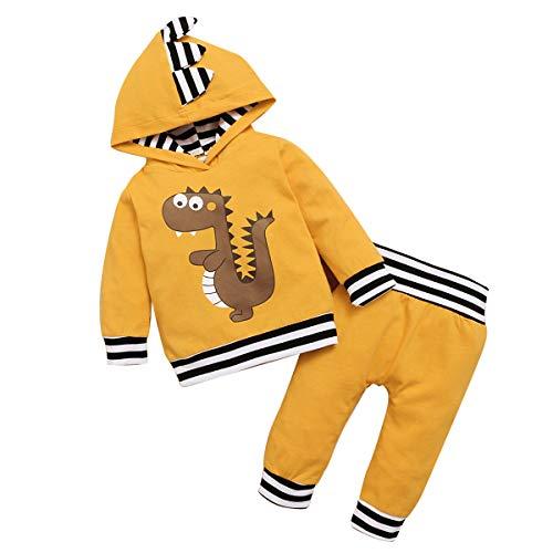 DaMohony Peuter Baby Jongens Outfit Kledingset Lange Mouwen Hooded Shirt + Broek voor 0-18 Maanden