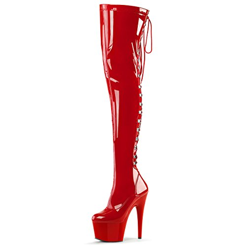 Higher-Heels PleaserUSA Damen Lack Stretch Overknee Stiefel Adore-3063 Lack Rot Lack Rot