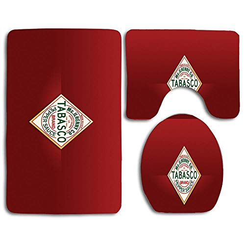 (Bathroom Safety Mats Set Tabasco Sauce Contour Rug U-Shaped Toilet Lid Cover,Non Slip,Machine Washable,3-Piece Rug Set Easier to Dry for Shower)