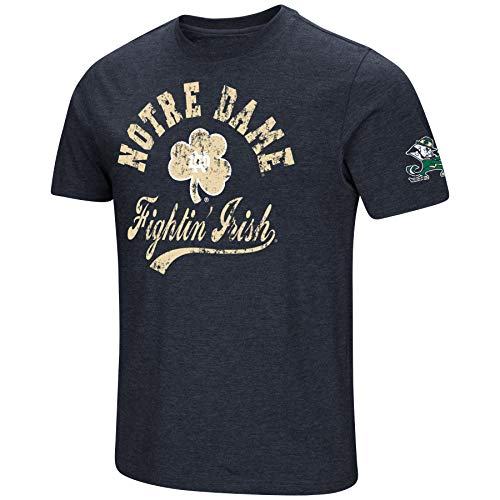 (NCAA Colosseum Men's Vintage Dual-Blend T-Shirt with 2 Logos (Notre Dame Fighting Irish-Navy/Retro Gold, X-Large))