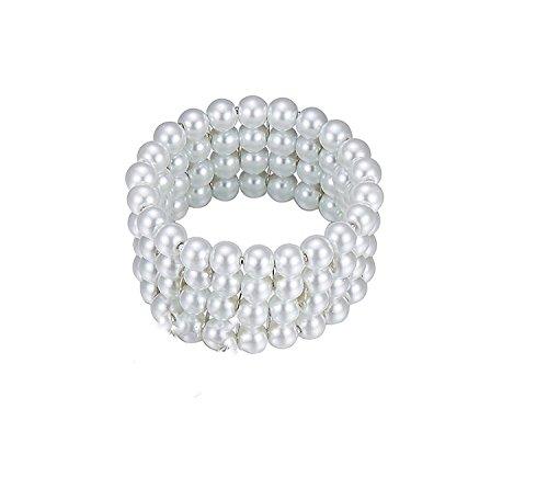 1920s Accessories Set Flapper Headband,Earrings,Pearl Necklace,Gloves,Net Tights,Pearl Bracelet (Set-13) by ZeroShop (Image #5)'