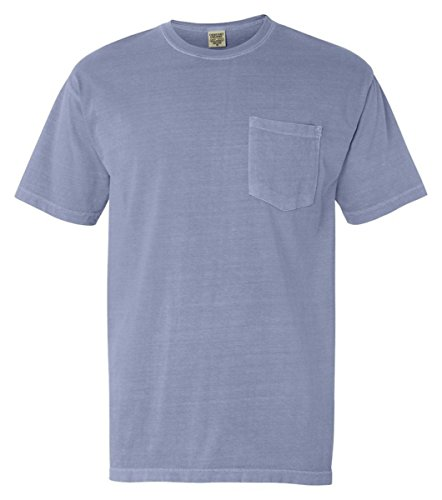 T-shirt Sleeve Short Garment Washed (Comfort Colors 6.1 oz. Garment-Dyed Pocket T-Shirt (6030CC) -WASHED DEN -L)