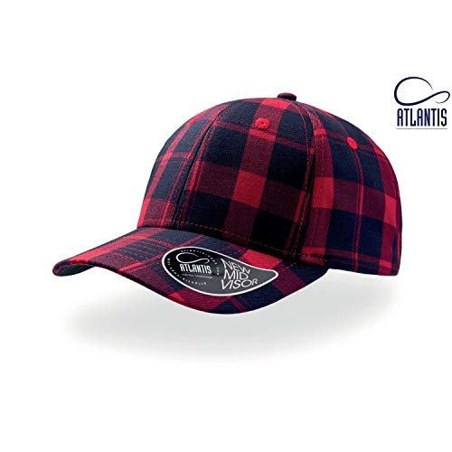 - Atlantis Scotland Tartan 6 Panel Cap (One Size) (Red/Navy)
