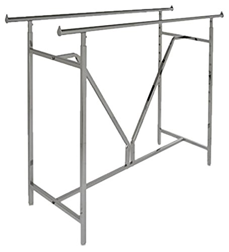 Econoco - Adjustable Heavy Duty Double Bar, Retail Clothing Rack, Rectangular Hangrail Rack (Chrome Clothing Retail)