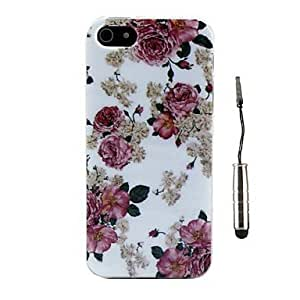 LZX Beautiful Rose Pattern TPU Soft Case and Stylus for iPhone 5/5S
