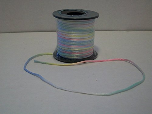 Pastel Braid Satin (Variegated Multi Color Baby Pastel 2mm X 50 Yards Satin Rattail Cord Chinese/china Knot Rat Tail Jewelry Braid 100% Polyester)