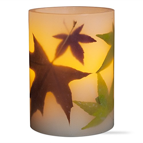 Tag 204908 Multi Harvest Autumn Leaf LED Pillar Candle, 4 x 3