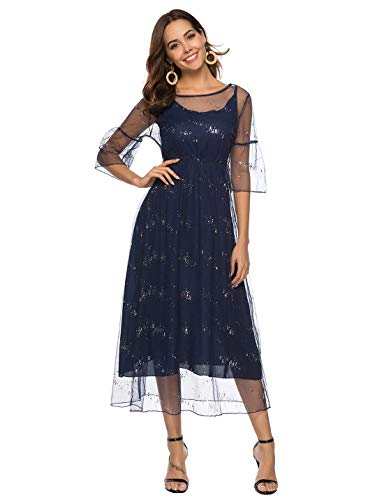 - Itemnew Women's Sequined Two Piece Boat Neck Flare Sleeve Tulle Chiffon Cocktail Long Dress (XX-Large, Dark Blue)