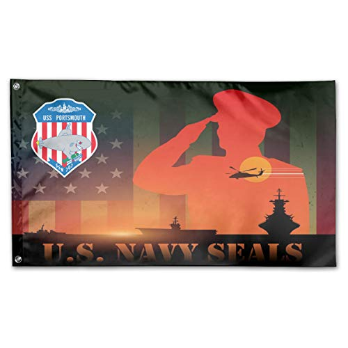 USS Portsmouth SSN 707 Home Flags 3 X 5 in Indoor&Outdoor Decorative Home Fall Flags Holiday Decor