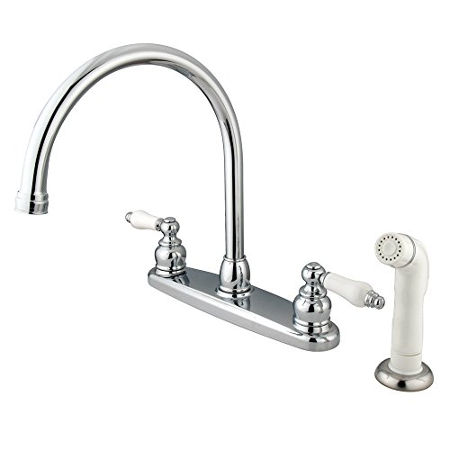 Kingston Brass KB721 Victorian Gooseneck Kitchen Faucet with OAK and Porcelain Handle, 8-3/4-Inch, Polished Chrome