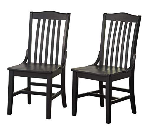 The Mezzanine Shoppe 63818BLK PR Drake Mid Century Modern Slatted Back Dining Chair, 21.5″, Set of 2, Black