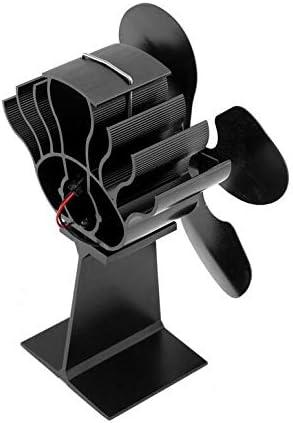 KUANGQIANWEI Holzofen 4-Blatt Heizung Herd Ventilator, Original-Brennholz-Brenner, Silent-Home Kamin Ventilator, eine effiziente Wärmeableitung (schwarz) Kamin