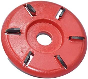 Wood Carving Disc Wood Sanding Carving Tool Angle Grinder Tool 6 Teeth Power Wood Carving Cutter Disc Milling Attachment - Red Chain Disc for Wood Carving Cutting Tool