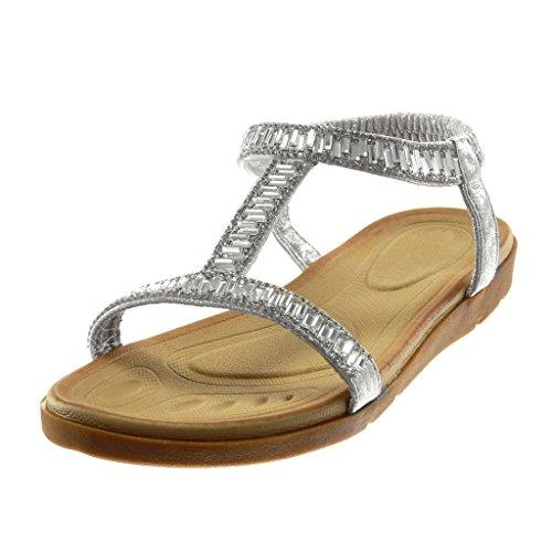 Mode Brillant Slip Strass Cm Plat Diamant Angkorly on Salomés Sandale 2 Talon Élastique 5 Chaussure Femme Argent Métallisé vCnwxq5t