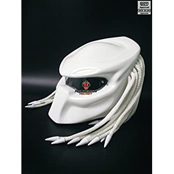 Pro Predator Motorcycle DOT Approved White Helmet include Tri Laser Top Level T03