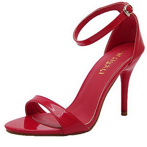 AalarDom Women's Solid PU High-Heels Buckle Open Toe