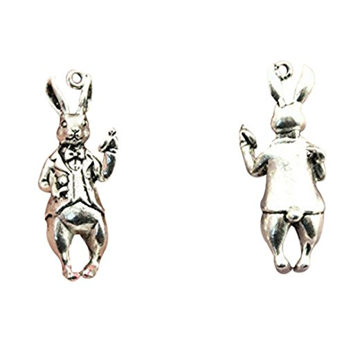 (6pcs fashion antique silver plated 3d rabbit charms)