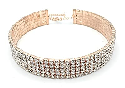 """LuxeLife Rose Gold Rhinestone Choker 3 5 or 8 Row Women's Crystal Necklace Diamond Collar with 5"""" Chain"""