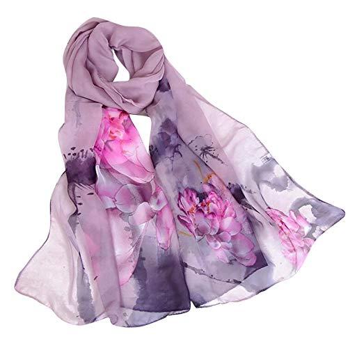 (Fashion Women Lotus Print Shawl Scarves, LIULIULIU Ladies Fantasy Long Soft Wrap-160x50 cm)