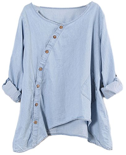 Top Shirt Denim (Soojun Ladies Round Collar Button Down Jean Denim Shirts Top Blouses Blue, One Size)