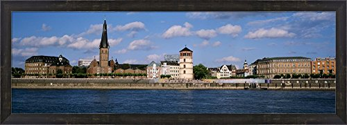 Rhine River, Dusseldorf, Germany by Panoramic Images Framed Art Print Wall Picture, Espresso Brown Frame, 38 x 14 inches (Rhine River Framed)