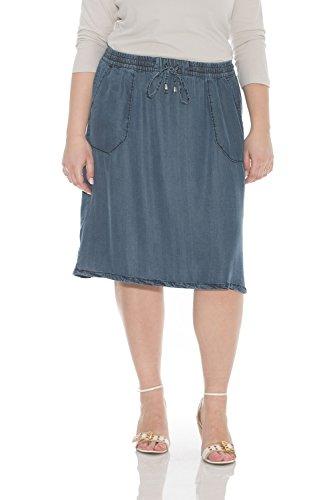 Esteez Denim Knee Length Skirt for Women 100% Tencel Savannah Dark Blue X-Large ()