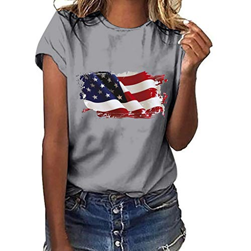 Sunhusing Ladies Solid Color Round Neck Short Sleeve Independence Day Victory Flag Print Slim Joker T-Shirt Gray