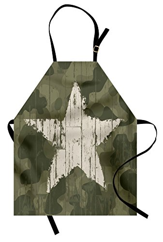 Ambesonne Camouflage Apron, Grungy Star Figure on Military