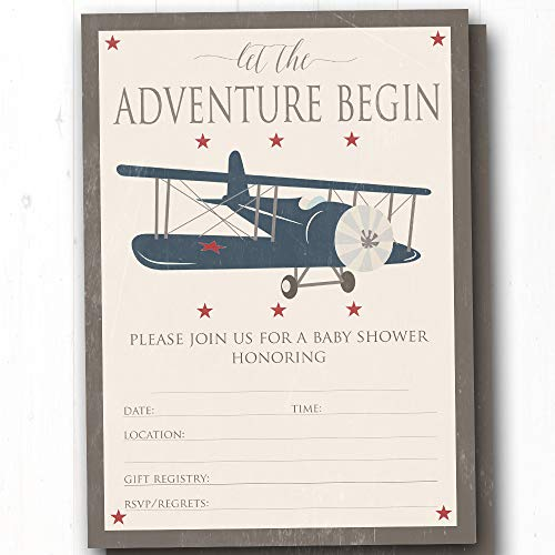 Vintage Airplane Baby Shower Fill-In Invitations - Vintage Travel Adventure Theme Shower Invites - Set of 20-5x7 Flat Invites w/Envelopes