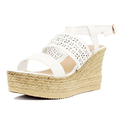 Braided Platform Pu Heart Toe Wrap Bottom Comfortable Sandal White Ankle Wedge Summer 05 Open Casual Womens Guilty wavqYIq