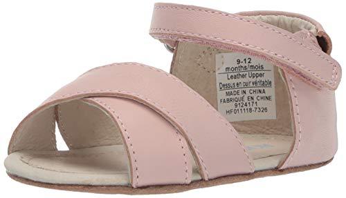 (Robeez Girls' Sandal-First Kicks Crib Shoe, Riley Blush, 6-9 Months)
