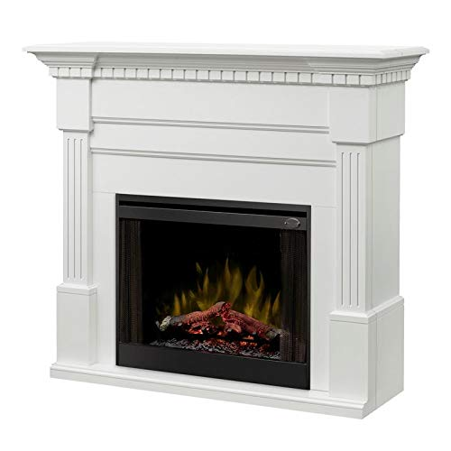 Dimplex Christina (Buildrite Series) - Classic Fireplace Mantel with Fluted Columns, Carved Dentil molding in a White Finish.
