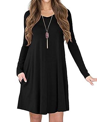 VEIMEILI Women's V-Neck Pockets Casual Swing Loose T-Shirt Dress