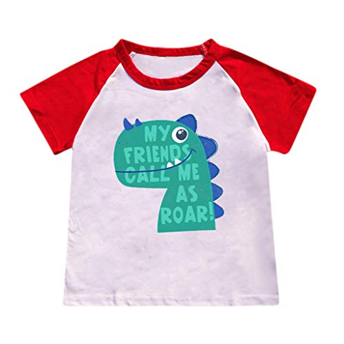 Hstore ✿Boy Clothes Children's Short Sleeve Cartoon Dinosaur Letter Print Stitching T-Shirt Top Shirt Children Outfit 2-8 Years Boys (2-3 Years, Red)