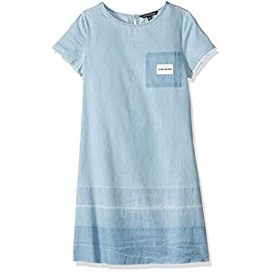 Calvin Klein Big Girls' Cold Shoulder Denim Dress